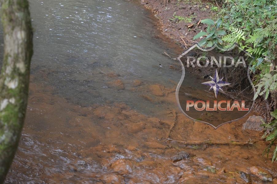 Polícia investiga derramamento de dejetos animais em córrego