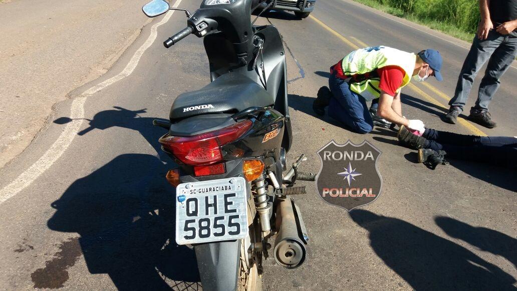 Motociclista fica gravemente ferido em acidente na BR-282