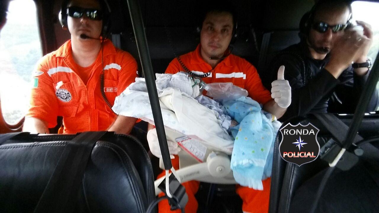 Bebê é transferido para Chapecó com auxilio do Saer e Sara