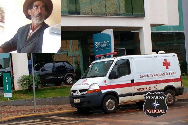 Idoso que estava desaparecido é encontrado em vala e encaminhado ao hospital de Xanxerê