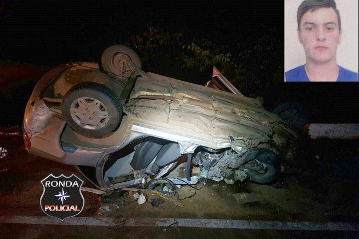Jovem morre em grave acidente na 282 envolvendo carro de Faxinal dos Guedes durante a madrugada