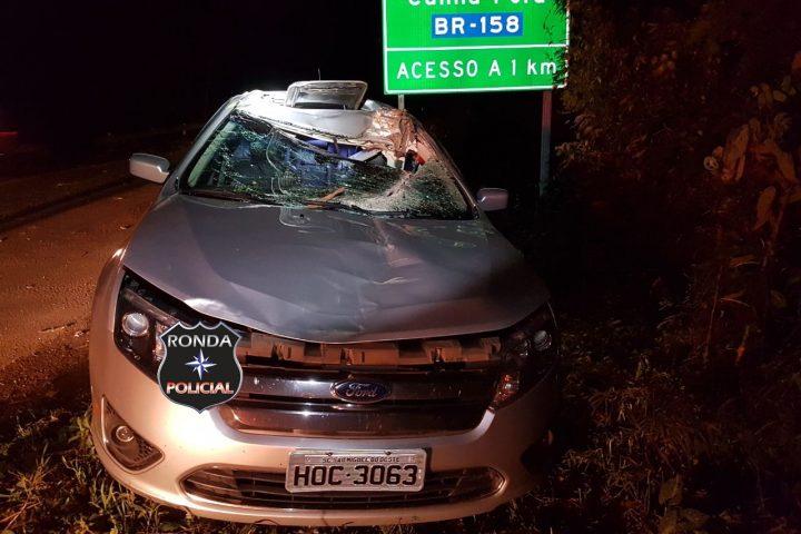 Motorista fica ferido ao colidir carro em árvore derrubada pelo vento na 282