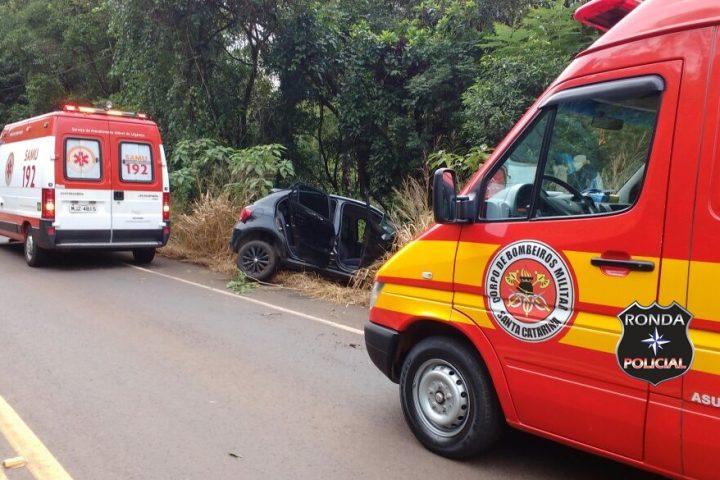 Mulher fica ferida em acidente na SC-157