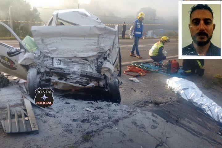Motorista morre em grave acidente com carreta de Xaxim na 282
