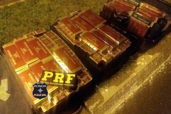 Casal é preso em flagrante com mais de R$ 24 mil em cigarros contrabandeados na BR-282