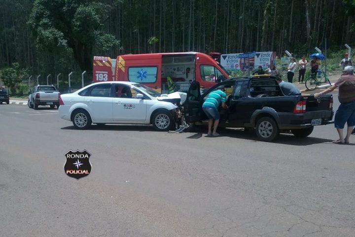 Casal fica ferido em violenta colisão próximo ao cemitério em Xanxerê