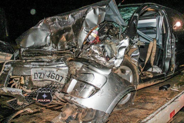 Duas pessoas morrem em grave acidente na BR-282 em Xaxim