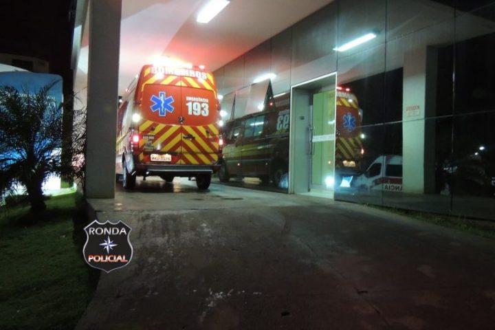Pai e filha são encaminhados ao hospital de Xanxerê após acidente de moto na SC-480 em Bom Jesus