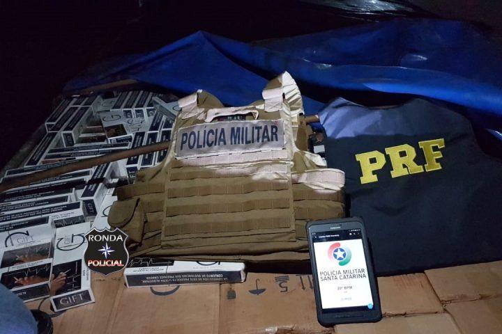 Ação conjunta das forças policiais resulta em apreensão de grande carregamento de cigarros