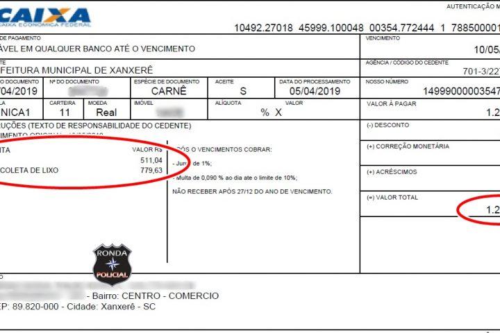 Presente de Grego: Morador recebe boleto da Prefeitura com quase R$ 800 de taxa de lixo em Xanxerê