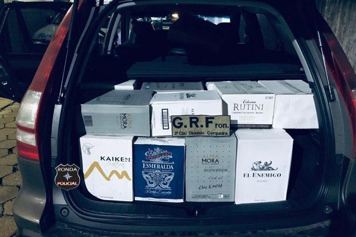 Polícia Militar apreende mais de 200 garrafas de vinho e espumante durante operação policial
