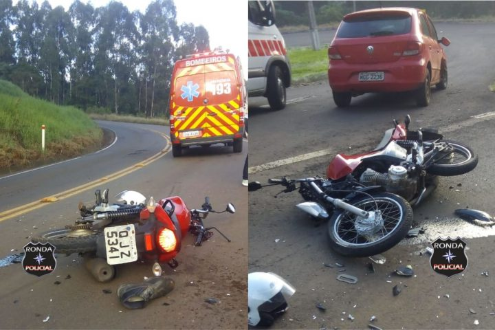 Jovem motociclista fica gravemente ferido em violenta colisão com carro de Xanxerê próximo ao laticínio em Lajeado Grande