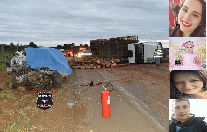 Quatro pessoas morrem em grave acidente entre carro e caminhão no final da tarde