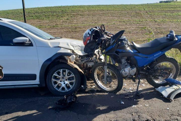 Motociclista fica gravemente ferido em acidente de trânsito na BR-163