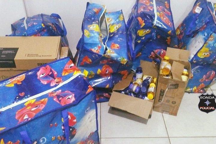 Polícia Militar realiza apreensão de mercadorias contrabandeadas do Paraguai
