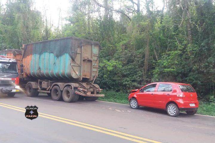 Idosa fica ferida em acidente envolvendo carro de Xanxerê na BR-282