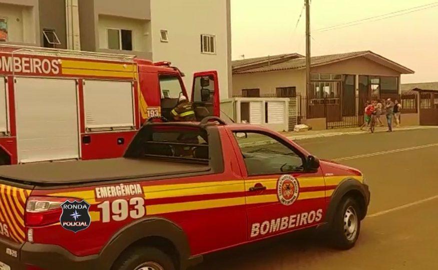 Foto e vídeo: Princípio de incêndio em apartamento mobiliza Corpo de Bombeiros em Xanxerê