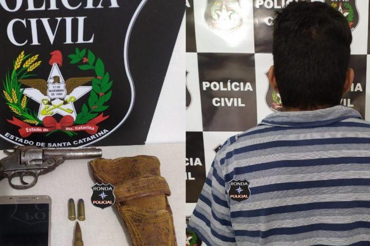 Homem é detido por posse ilegal de arma de fogo