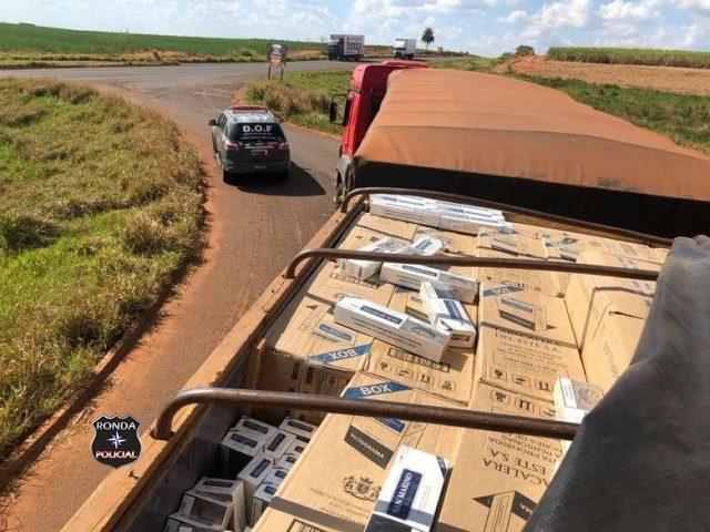 Polícia encontra carga com mais de 40 mil pacotes de cigarro do Paraguai