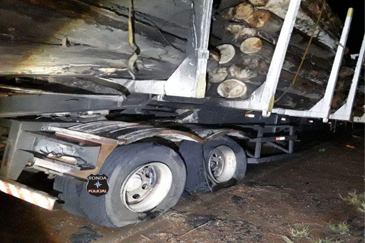Princípio de incêndio em carreta é registrado na SC-155