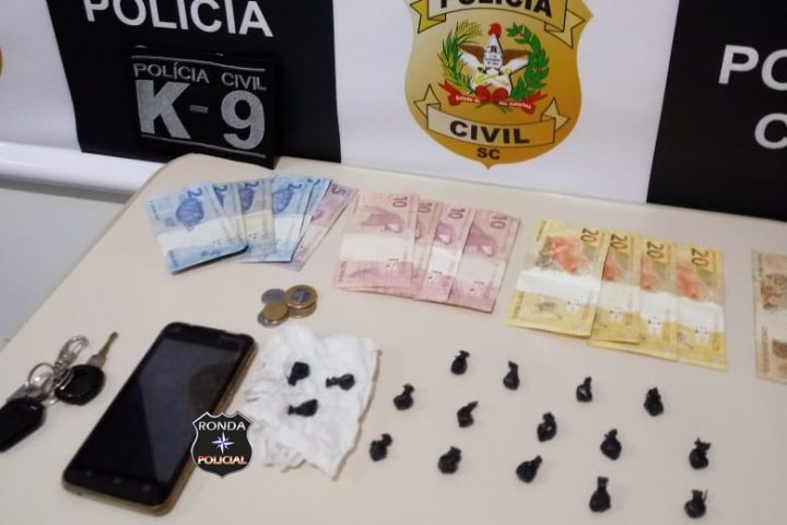 Operação deflagrada pela DIC e Canil da Polícia Civil apreende drogas e prende mais um traficante em Xanxerê