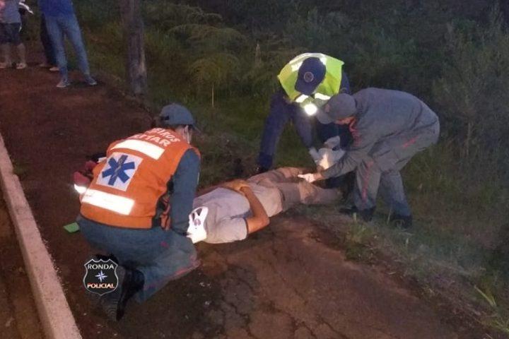 Motociclista fica ferido em acidente no início da noite