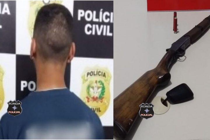 Jovem é preso em flagrante após executar homem com tiro de espingarda a queima roupa
