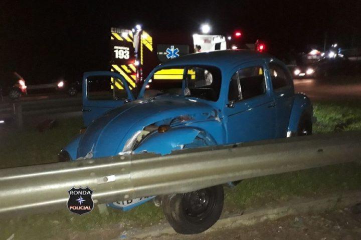 Três pessoas ficam feridas em acidente durante a madrugada