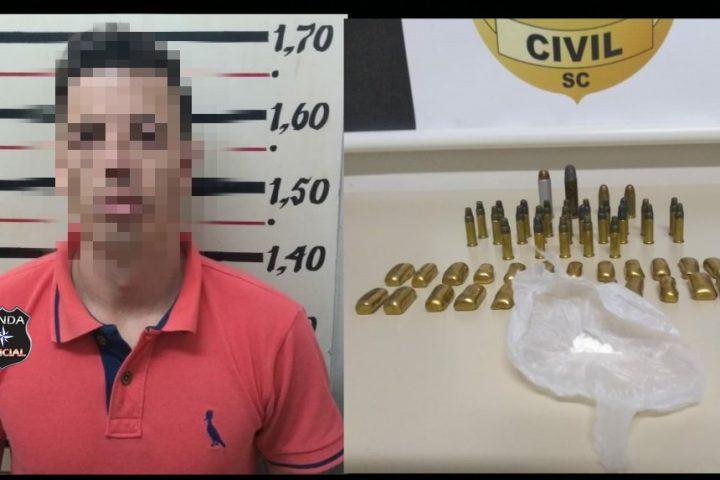 Homem é preso com drogas e munições