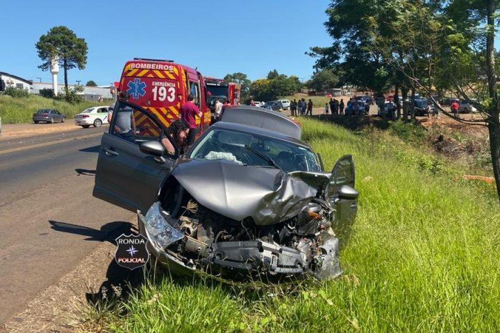Cinco pessoas ficam feridas em grave acidente na manhã de Natal na BR-282