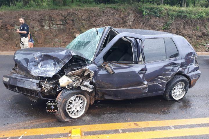 Grave acidente deixa três feridos na BR-282 em Xaxim