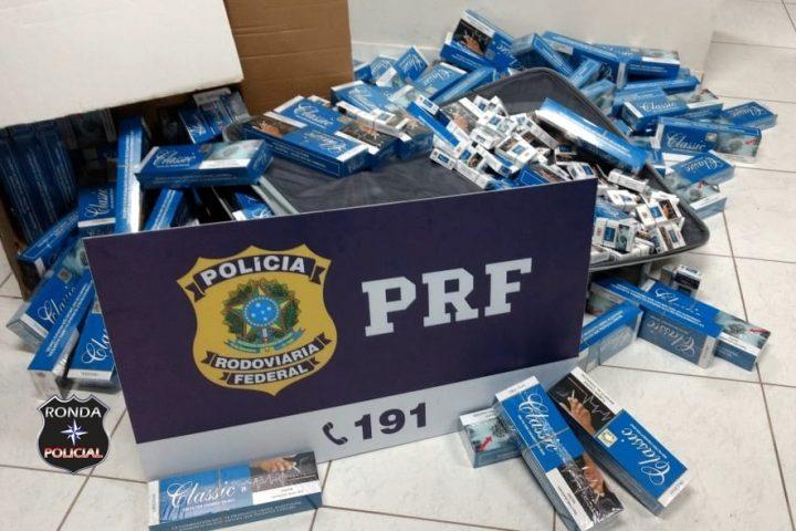 PRF localiza cigarros contrabandeados em malas de ônibus na BR 282