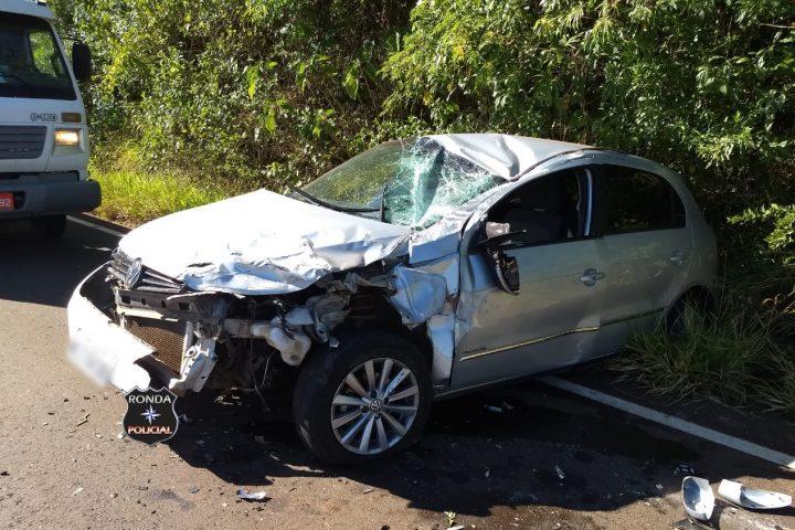 Mulheres saem ilesas após violenta colisão registrada na SC-480
