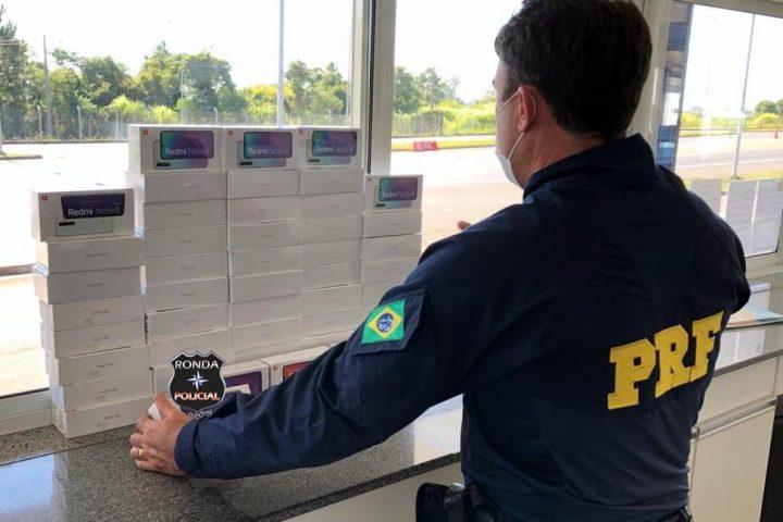 PRF apreende grande carregamento de celulares contrabandeados na BR-282
