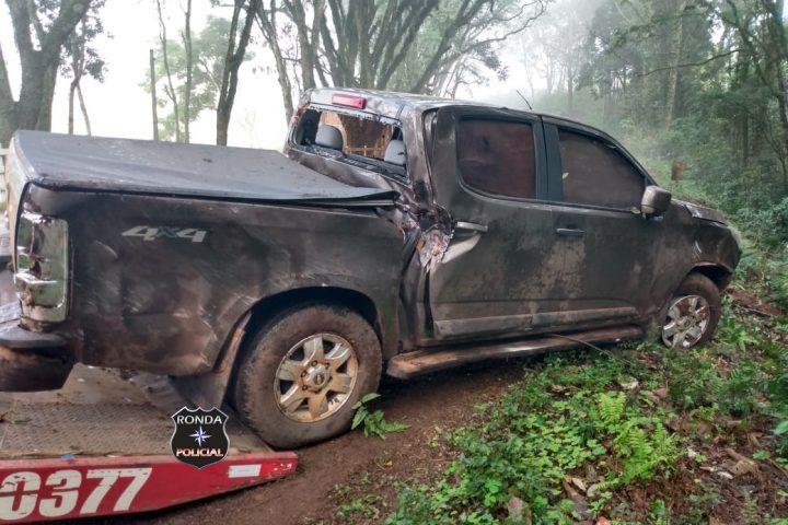 Capotamento de camionete é registrado pela Polícia Militar Rodoviária Estadual na SC-163