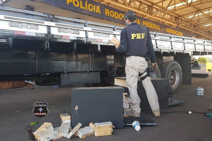 PRF realiza apreensão de aproximadamente 50 kg de crack em fundo falso de carreta no Oeste
