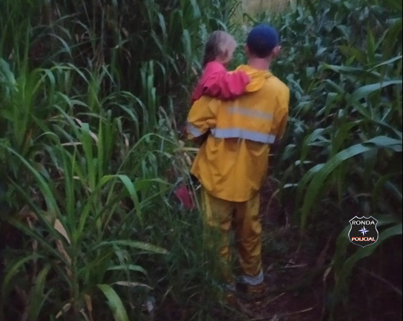 Bombeiros localizam criança perdida em milharal