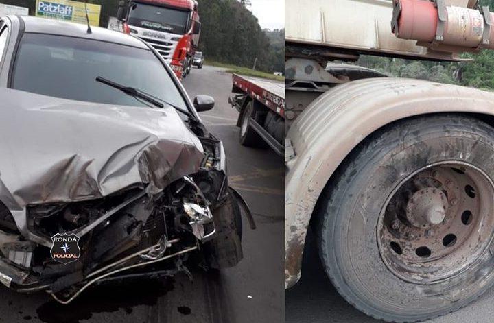 Violenta colisão entre carro e carreta é registrada no trevão de Irani