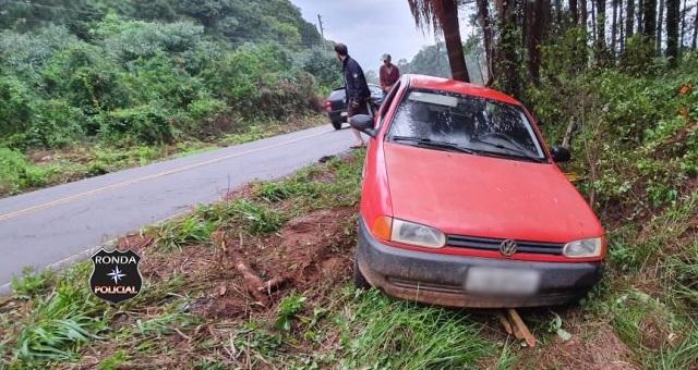 Saída de pista é registrada em rodovia