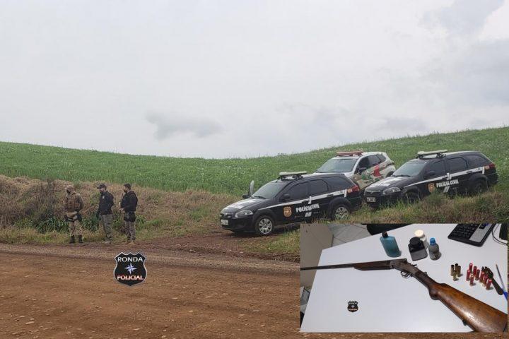 Homem é preso em flagrante pela polícia portando espingarda no interior de Vargeão