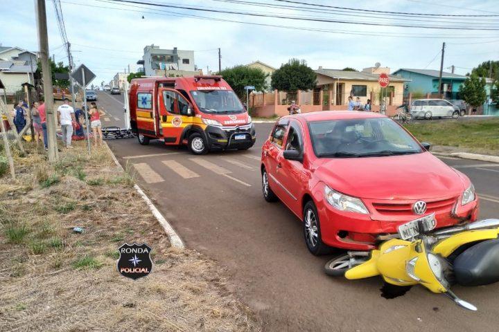 Motociclista fica ferida em acidente no Bairro São Jorge