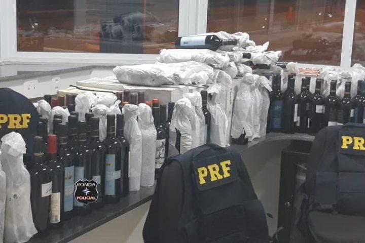 PRF apreende em Ponte Serrada carregamento de vinho contrabandeadas da Argentina