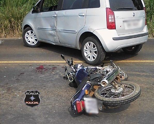 Motociclista fica ferido após colisão na SC-283