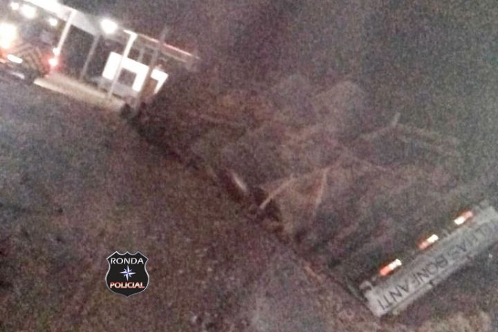 Caminhão tomba às margens da BR-282 e deixa motorista ferido