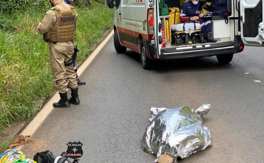 Piloto morre em grave acidente envolvendo motocicleta de Xanxerê na BR-282
