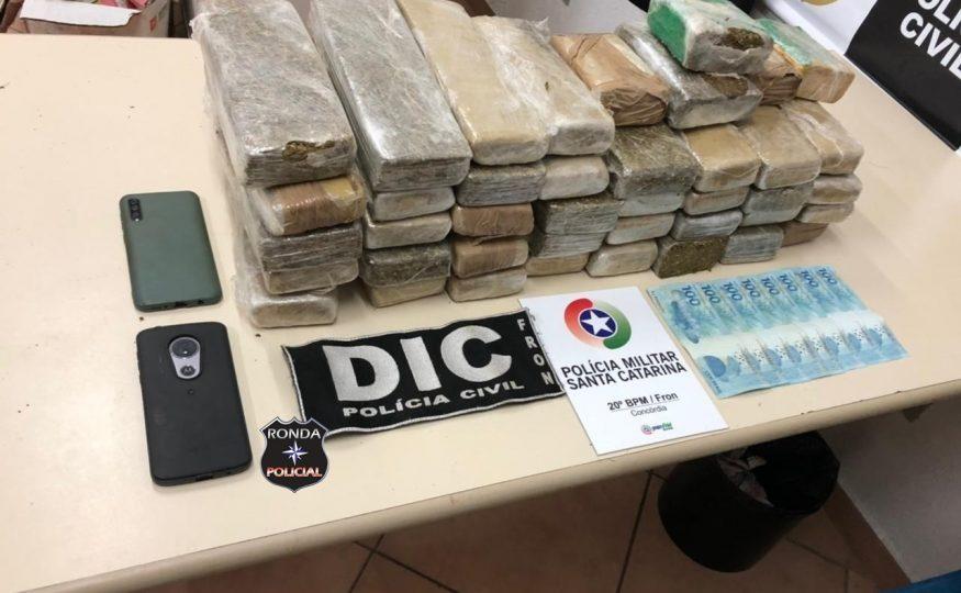 Ação conjunta entre DIC, PM e Polícia Rodoviária Estadual apreende mais de 26 quilos de maconha