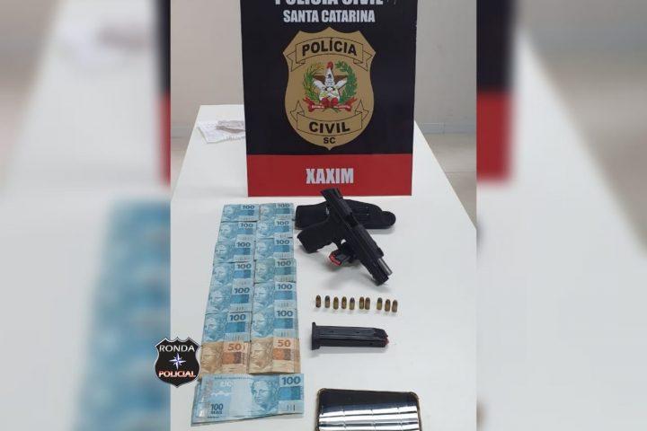 Polícia Civil prende em flagrante homem com pistola furtada em Xaxim
